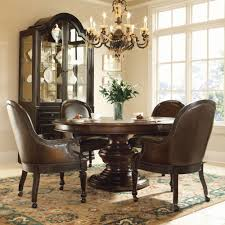 Bernhardt Normandie Manor 5pc Round Dining Room Set with Large Casters Game  Chairs in Bark