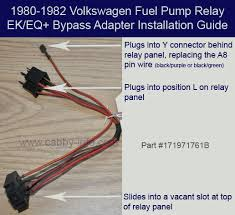 electrical system 1980 1982 fuel pump relay originally installed in position l due to a recall the relay should have been moved to position 1 a wiring