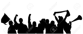 白い背景の上のファンの応援シルエット