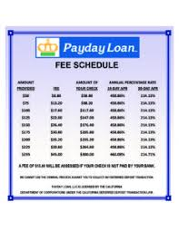 Payday Money Centers Fee Chart Payday Money Centers