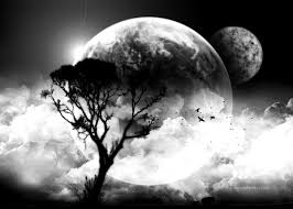 black and white clouds moon tree oil paintings