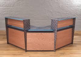 modern wooden office counter desk buy wooden. Modern Reception Desks In Cherry Wood With Steel I-beams, And A Glass Or Wooden Office Counter Desk Buy E