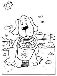 Kleurplaat Hond Met Een Emmer Op Het Strand Kleurplatennl