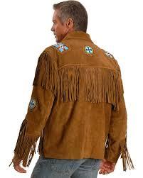 liberty wear eagle bead fringed suede leather jacket big tall hi