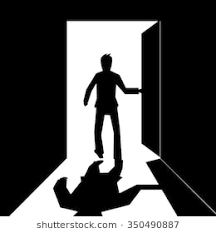 silhouette of a business man open and walking out the door black and white vector