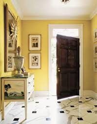 Foyer Wall Colors Yellow Wall Paint Color With Wooden Door And Foyer Foyer Paint