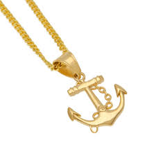 anchor charm necklace stainless steel gold color navy style anchor pendant necklace for men