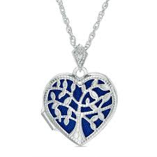 diamond accent blue family tree heart locket in sterling silver