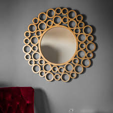 wrakes unique gold circles design extra large round wall mirror 46 diameter