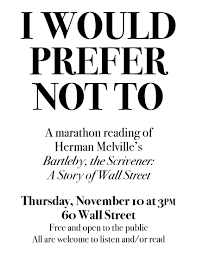 "marathon reading of ""bartleby the scrivener"" wall st  it s"