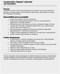 Construction Laborer Job Description Threeroses Us