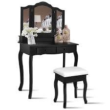 costway vanity makeup dressing table set bathroom w stool 4 drawermirror jewelry wood