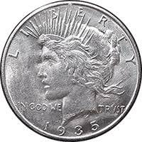 1935 Silver Half Dollar Value Chart 1935 Peace Dollar Value Cointrackers