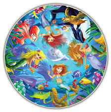 mermaids kids round table puzzle 50 pc