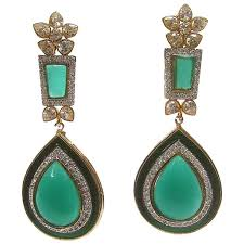 emerald green poured glass teardrop chandelier earrings simply exquisite
