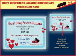 Second Life Marketplace Best Boyfriend Award Certificate