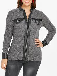 fashion plus size faux leather panel front zip cardigan