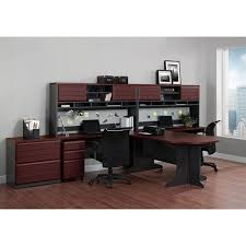 home office set. u shaped office set in cherry and gray home