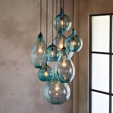 hand blown glass pendant lighting. SALON GLASS PENDANT CANOPY -- Limpid Turquoise Drops Of Hand Blown Glass, Envisioned By A Los Angeles Artisan Cisco Pinedo, Cluster Together Beneath Glass Pendant Lighting E