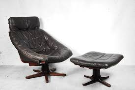 scandinavian leather furniture. scandinavian swivel leather chair with ottoman 1960s furniture o