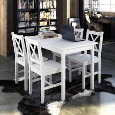 Holztisch Mit 4 Stühle Möbel Set Weiß Tisch Ess Real