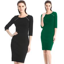 fashionable work outfits promotion shop for promotional feminine vestidos women s o neck wedge bodycon dress zipper front pure color fashion 2016 work outfit