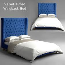Velvet Tufted Wingback Bed 3D