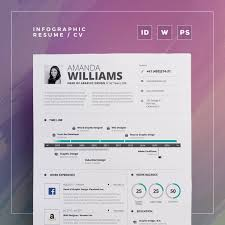 Infographic Resumecv Volume 5 2 Pages Word And Indesign Etsy
