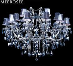 blue color maria theresa crystal chandelier lamp lighting fixture large cristal ers for hotel project 18 lights shades md3418