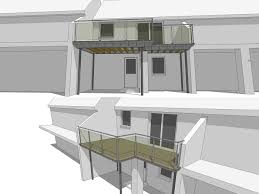 ... L-shaped balcony 3d drawing ...