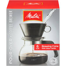 melitta pour over brewer 6 cup coffee maker with glass carafe box com