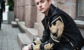 an eclectic mix of embroideries studs and details is defining the new leather jacket in menswear jackets come richly embellished with hand painted fls