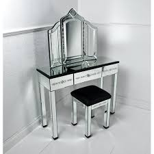 classic style vanity table with lighted mirror with folding mirror and stool for home decoration ideas