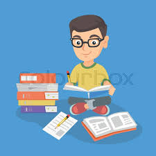 little boy with pencil and textbook in his hands sitting near stack of books vector sketch cartoon ilration square layout vector