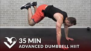 35 min advanced dumbbell hiit workout hard high intensity workouts at home for women men