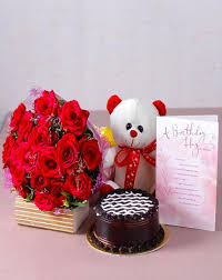 Combo Gift Cake Flowers Teddy Bear Birthday Card Wishing Shop