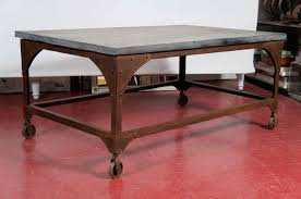 Iron And Stone Coffee Table Industrial Belgian Blue Stone And Iron Coffee Table At 1stdibs