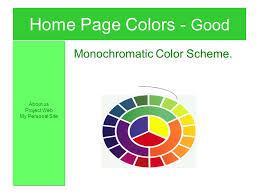 Home Page Colors Good Monochromatic Color Scheme About Us Ppt