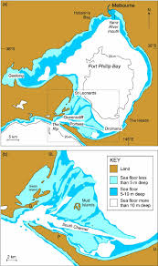 Australian Hydrographic Charts Maps Of Port Phillip Bay Showing Its Present Form And