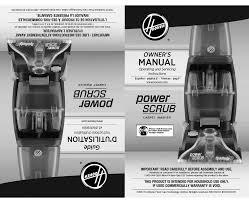 hoover power scrub owner s manual pdf