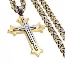 senarai harga mens stainless steel crucifix cross pendant necklace chain 24 inch terkini di malaysia