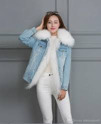 2018 women fox fur collar rac rabbit fur coats short denim jacket with fur liners customized moq style color from bestieapparel 98 9 dhgate com