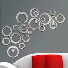 24pcs/set <b>3D</b> DIY Circles Wall <b>Sticker</b> Home Decoration Mirror Wall ...