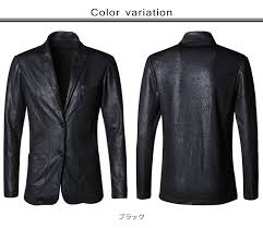 tailored jacket men fake leather men jacket fashion thin luxury casual black fall and winter