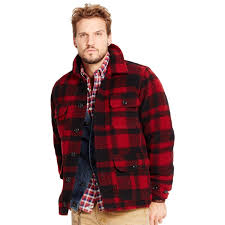 ralph lauren denim supply plaid wool blend barn jacket