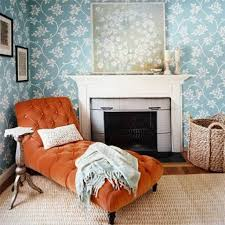 bedroom chaise lounge chairs. Orange Tufted Chaise Lounge Chair With Sisal Rug For Cozy Bedroom Ideas Using Floral Wallpaper And Nice Fireplace Chairs