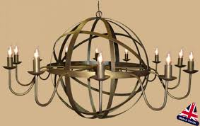 archimedes very large 12 light wrought iron orb chandelier
