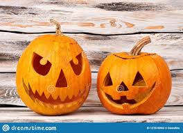 Cool Pumpkin Carving Designs Easy Halloween Scary Pumpkins On Wooden Background Stock Photo