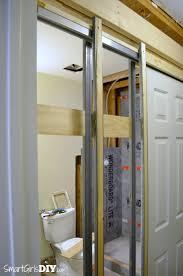 photos of diy pocket door door installation