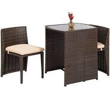 best choice s 3 piece wicker bistro set w glass top table 2